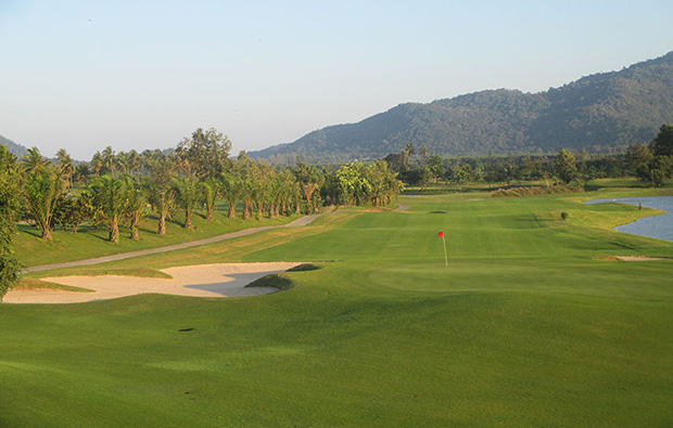 looking back from green, pleasant valley golf club, pattaya, thailand