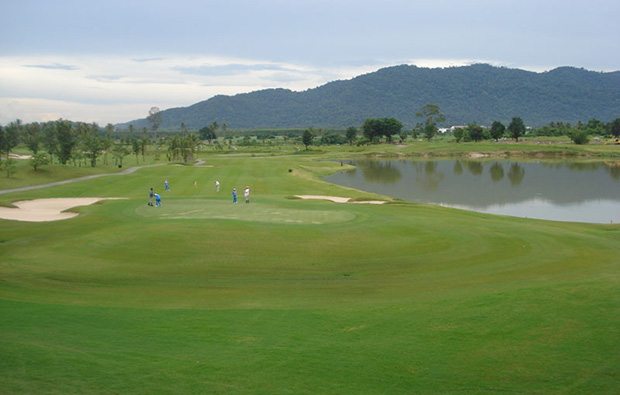 view to mountains, pleasant valley golf club, pattaya, thailand