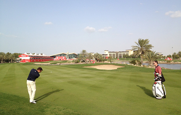 approach to 18th hole at abu dhabi golf club, abu dhabi, united arab emirates
