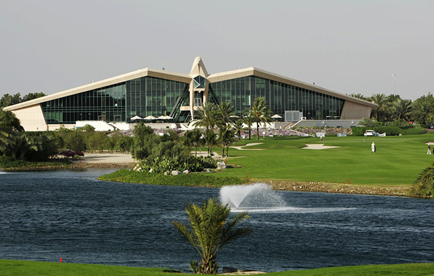 The famous clubhouse at  abu dhabi golf club, abu dhabi, united arab emirates