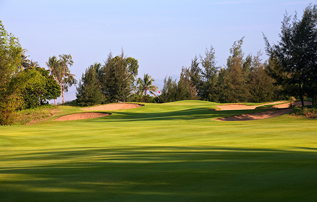 approach to 17th hole, montgomerie links, danang, vietnam