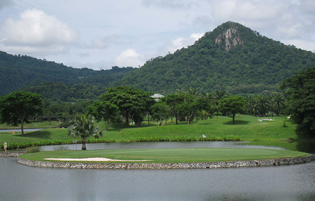 another view of island green at khao kheow country club, pattaya, thailand