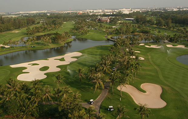aerial view, thai country club, bangkok, thailand