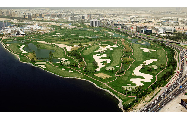 aerial view, dubai creek golf club, dubai, united arab emirates