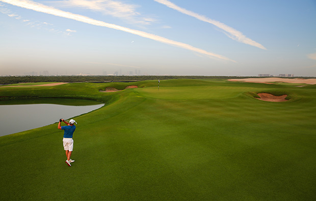 golfer al zorah golf club, dubai, united arab emirates