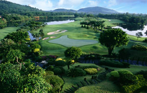 view over 18th green blue canyon country club, canyon course, phuket