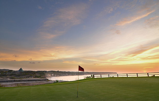 sunset at new kuta golf club, bali, indonesia
