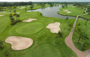 aerial view of green, bangkapong riverside country club, bangkok, thailand