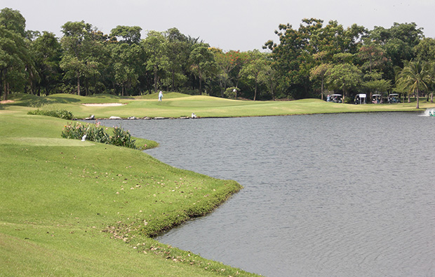 lake at green valley golf club, bangkok, thailand