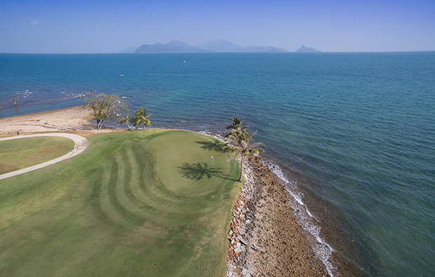 aerial view of green the els club, langkawi