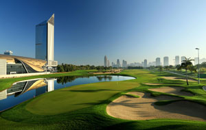 view of 18th hole, emirates golf club faldo course, dubai, united arab emirates
