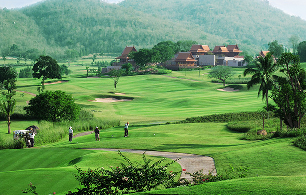 teeing off, banyan golf club, hua hin, thailand