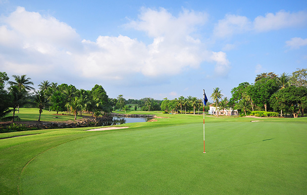 looking back from green, rayong green valley country club, pattaya, thailand