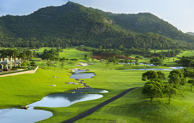 hole 10 from tee, black mountain golf club, hua hin, thailand