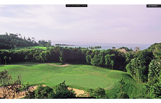 elevated view of green, bintan lagoon resort, jack nicklaus course, bintan, indonesia