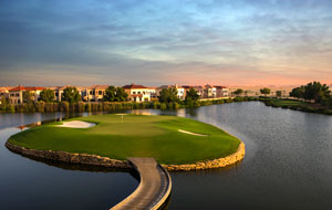 island green, jumeirah golf estates earth course, dubai, united arab emirates