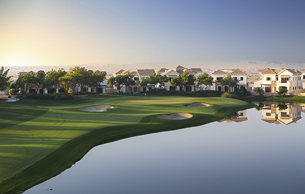 14th hole, jumeirah golf estates earth course, dubai, united arab emirates
