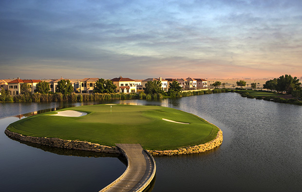 17th hole, jumeirah golf estates earth course, dubai, united arab emirates
