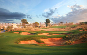 3rd hole,  jumeirah golf club fire course, dubai, united arab emirates