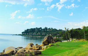 View of Banyan tree Bintan from Laguna Golf