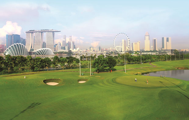 Marina Bay Golf Course view of city