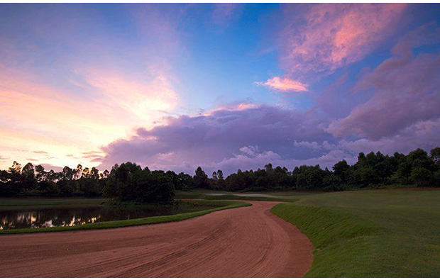 sunset at vijay course mission hills, guangdong china