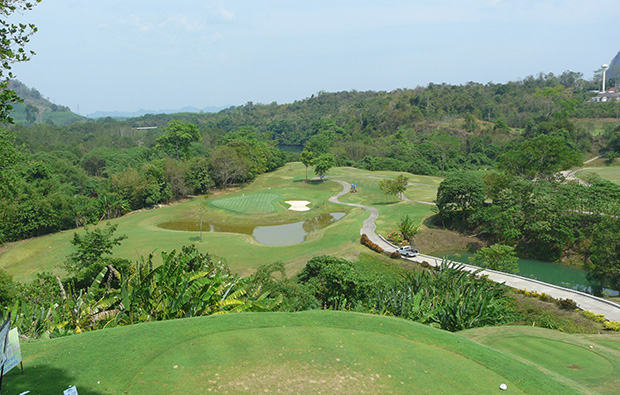 17th tee, rajjaprabha dam golf course, samui, thailand