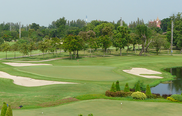 aerial view bangkok golf club, bangkok, thailand