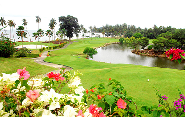 amazing landscape at palm springs golf country club in batam island, indonesia