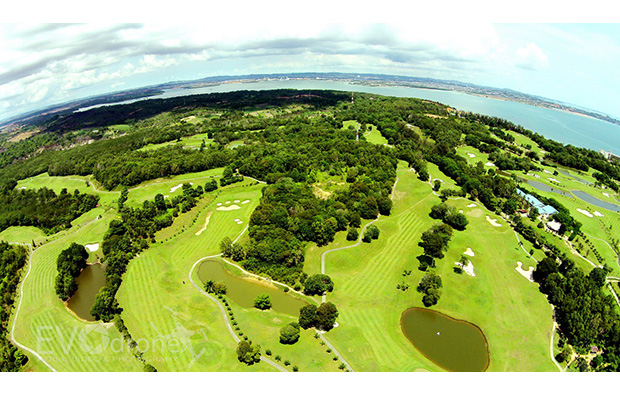 aerial view at palm springs golf country club in batam island, indonesia