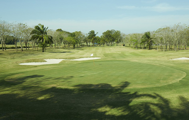 looking back from green at pattaya country club, pattaya