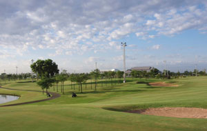 view towards club house, rachakram golf club, bangkok, thailand