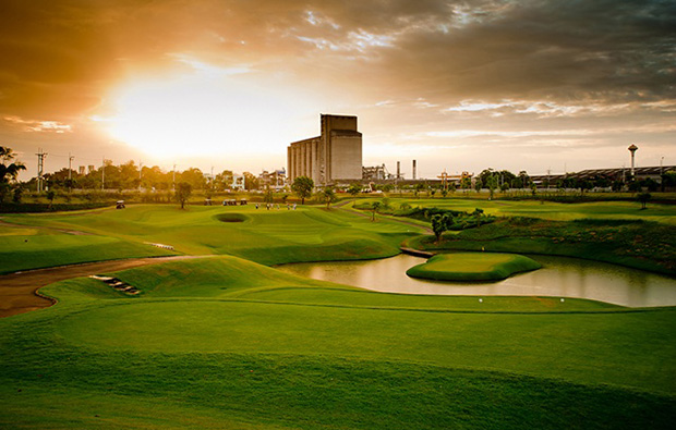 sunset, riverdale golf club, bangkok, thailand