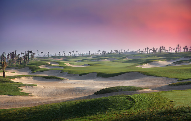 many bunkers at saadiyat island beach golf club, abu dhabi, united arab emirates