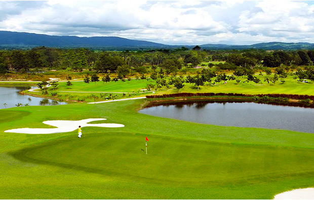 view over green silky oak golf club , pattaya, thailand