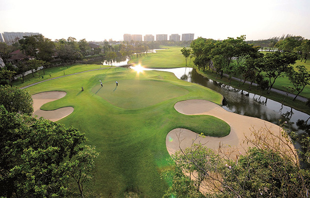 aerial view, thana city golf club, bangkok, thailand