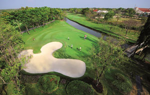 overhead view,  thana city golf club, bangkok, thailand