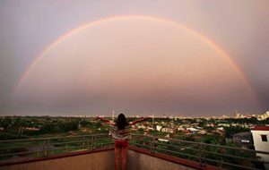 rainbow after storm in Vietnam