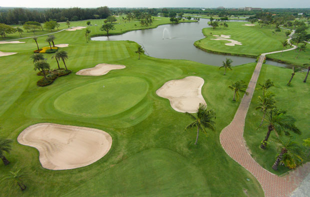 aerial view bangkapong riverside country club, bangkok, thailand