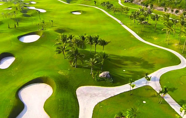 aerial view diamond bay golf resort, nha trang, vietnam
