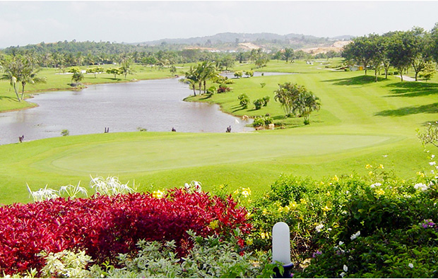view infront of club house at indah puri golf resort, batam, indonesia