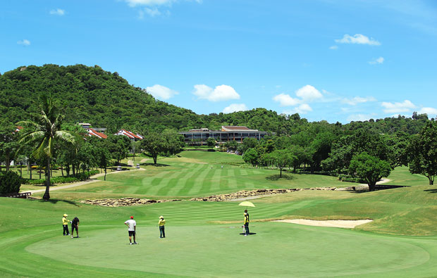 view to clubhouse, laem chabang international country club, pattaya, thailand