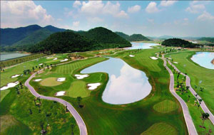 view from the air, legend hill golf resort, hanoi, vietnam