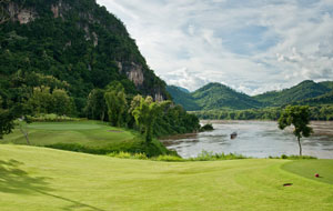 mountain view at luang prabang golf club, luang prabang, laos