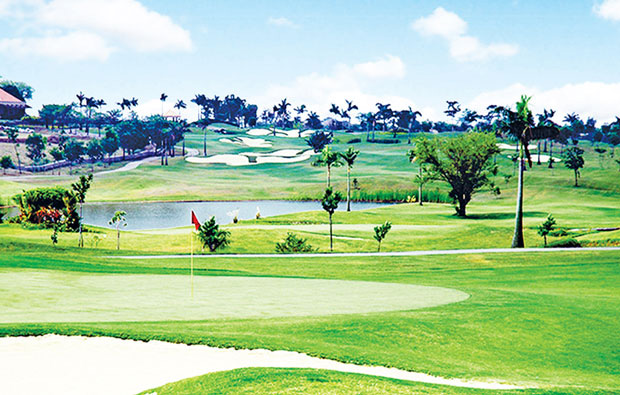 Views down course at Royal Northwoods Golf Country Club, Manila, Philippines