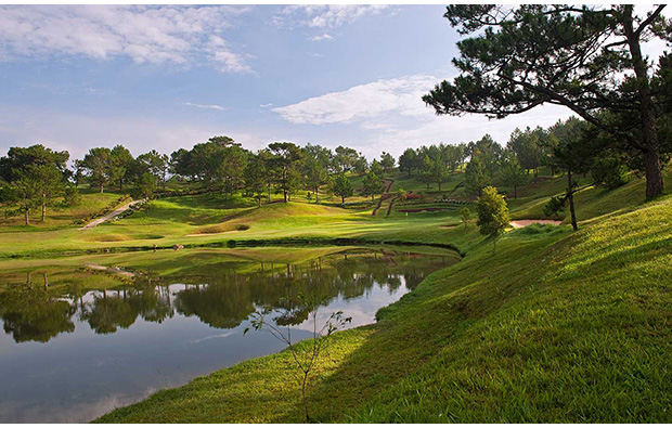 undulating landscape at dalat palace golf club, dalat, vietnam