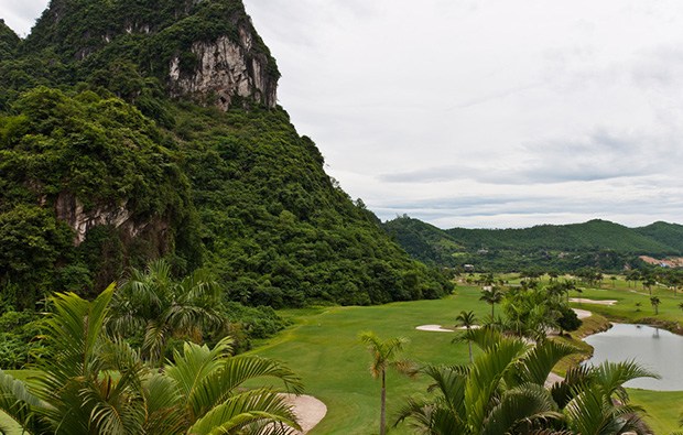 view down to hole, phoenix golf resort, hanoi, vietnam