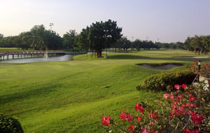 view down the fairway, pinehurst golf country club, bangkok, thailand