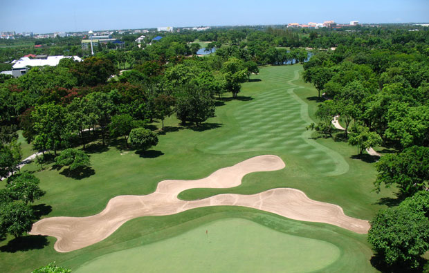 aerial view, royal gems golf club, bangkok, thailand