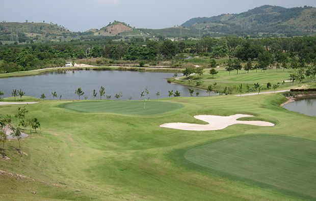aerial view silky oak golf club , pattaya, thailand
